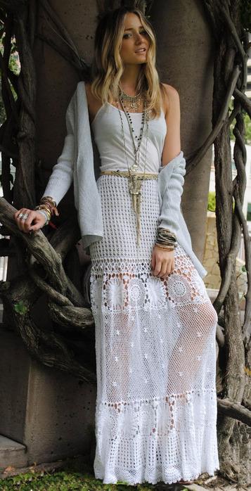 Вязаная длинная юбка крючком 4
