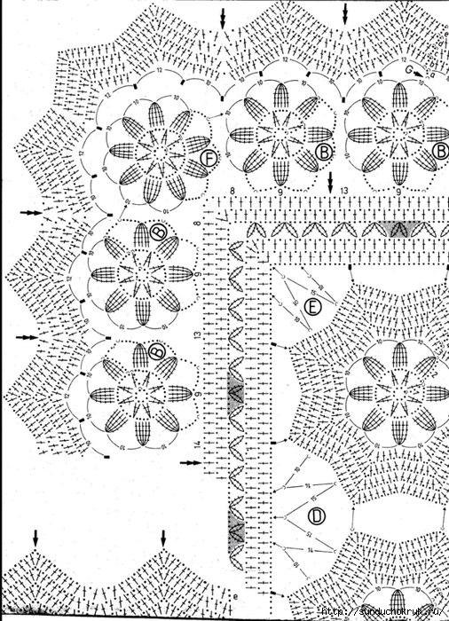 钩针:美丽的花卉桌布图案 - maomao - 我随心动