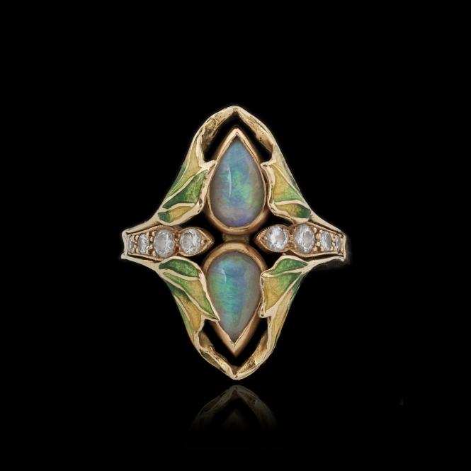665x665_bague_or_jaune_1NBague de style art nouveau, or, opales, diamants et émail (665x665, 82Kb)