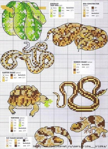 Часть 4 - Схемы вышивки змеек