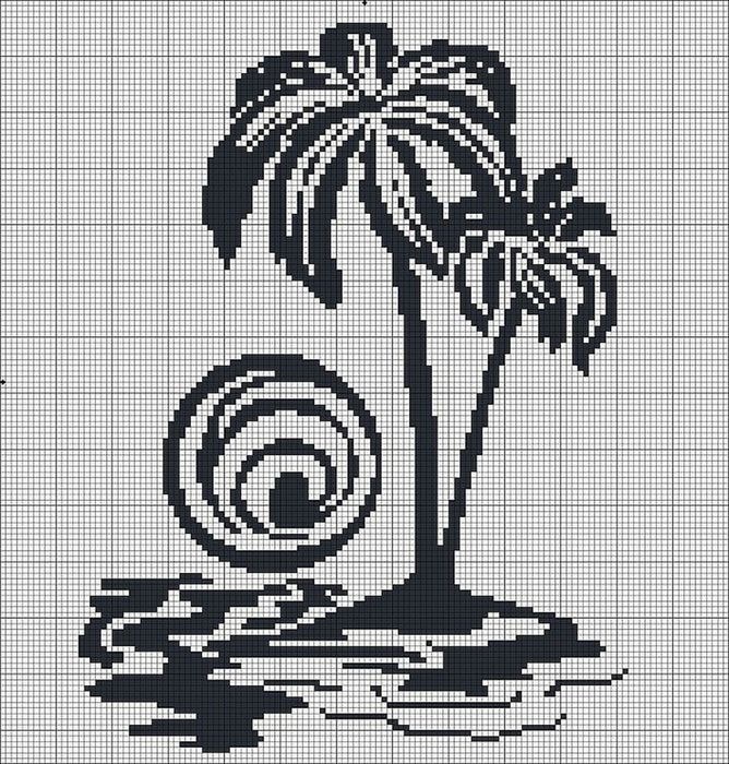 Пальмы.Монохром.