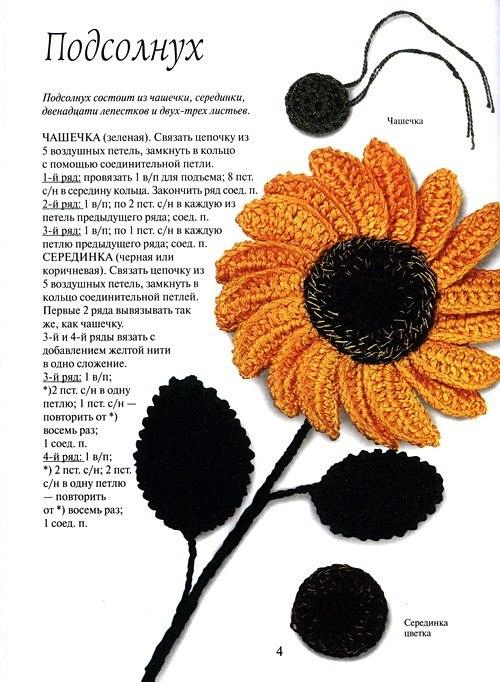 Вяжем Подсолнух - описание