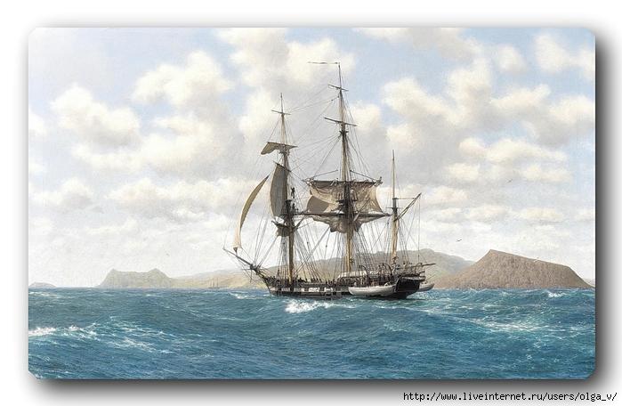 Корабль Бигль у Галапагосских островов 17 октября 1835 г (HMS Beagle in the Galapagos, 17th October 1835) (700x456, 231Kb)