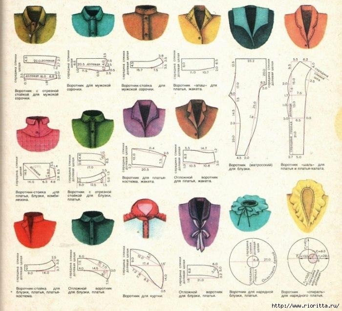 Схемы построения разных видов воротников. (700x636, 273Kb)