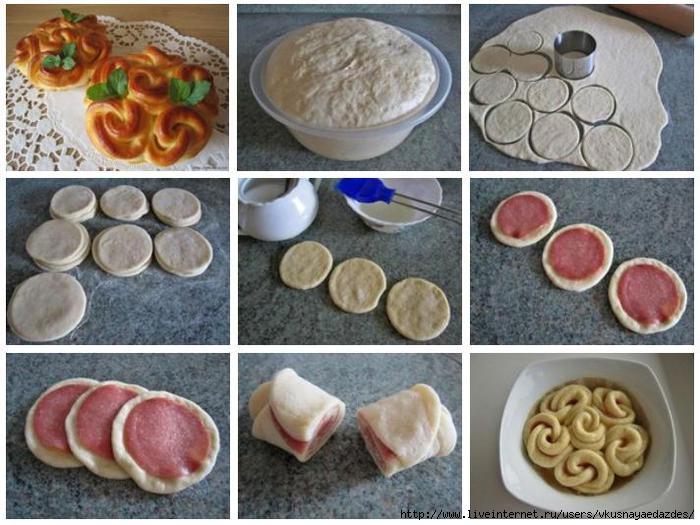 Плюшки из слоёного теста рецепт с пошагово
