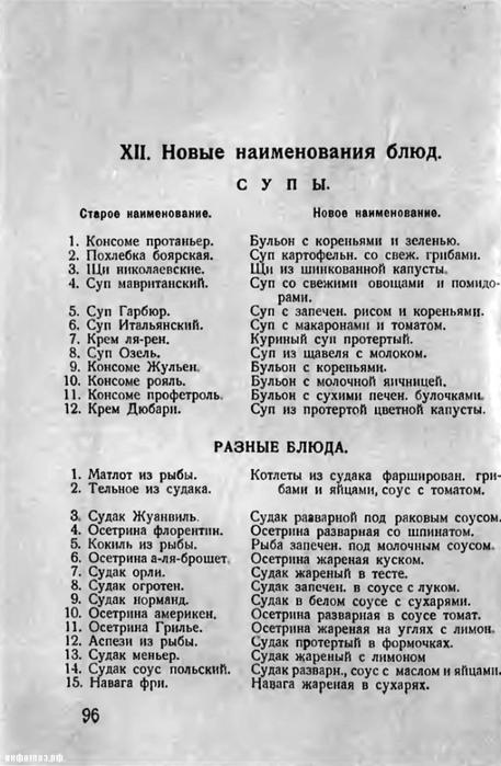 1928 год. Замена буржуазных названий кулинарных блюд на пролетарские1 (457x700, 190Kb)