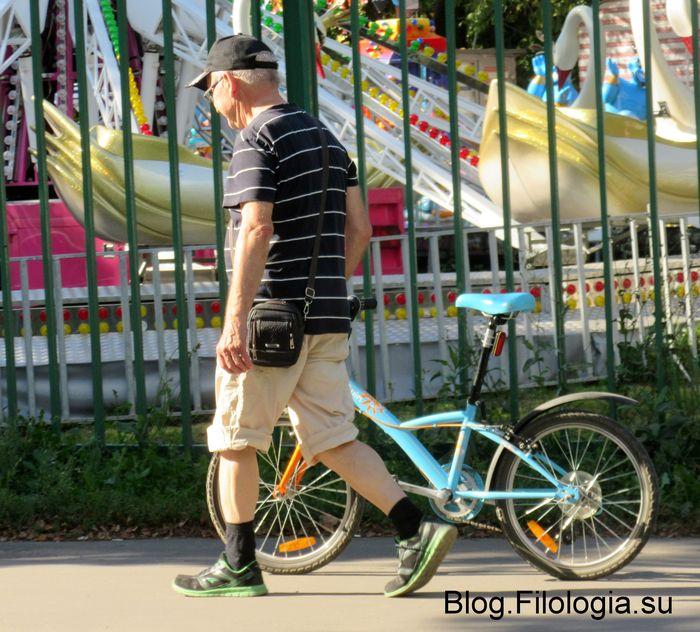 Пожилой мужчина катит велосипед по дорожке парка Дружба  (700x632, 97Kb)
