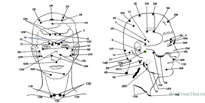 Акупунктура и акупрессура активных точек головы