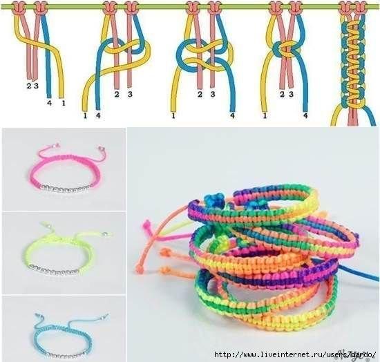 Как плести разноцветные браслеты