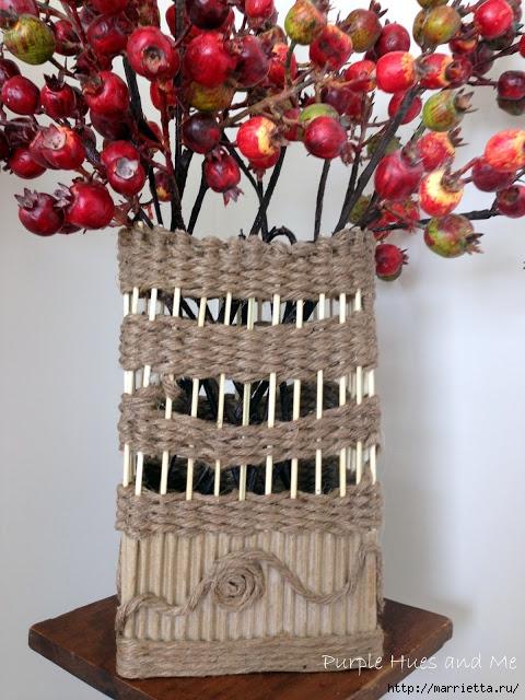 Декоративная ваза из картона, джута и шашлычных палочек (1) (480x640, 251Kb)