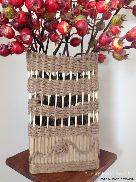 Декоративная ваза из картона, джута и шашлычных палочек (19) (480x640, 264Kb)