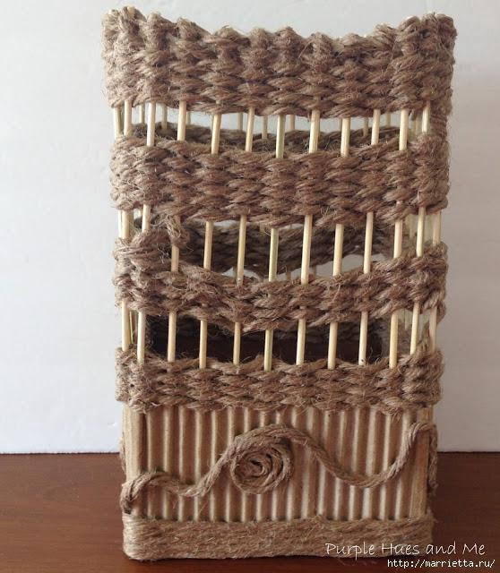 Декоративная ваза из картона, джута и шашлычных палочек (21) (558x640, 259Kb)