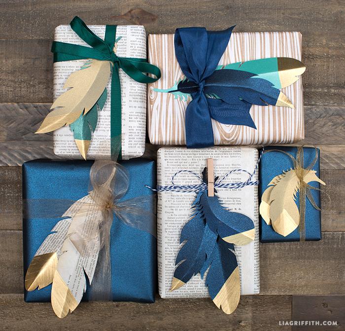 Перышки из бумаги для декоративной упаковки подарков (7) (700x671, 760Kb)