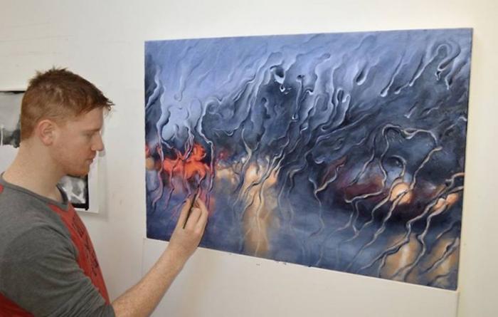 художник рисует дождь (700x445, 235Kb)
