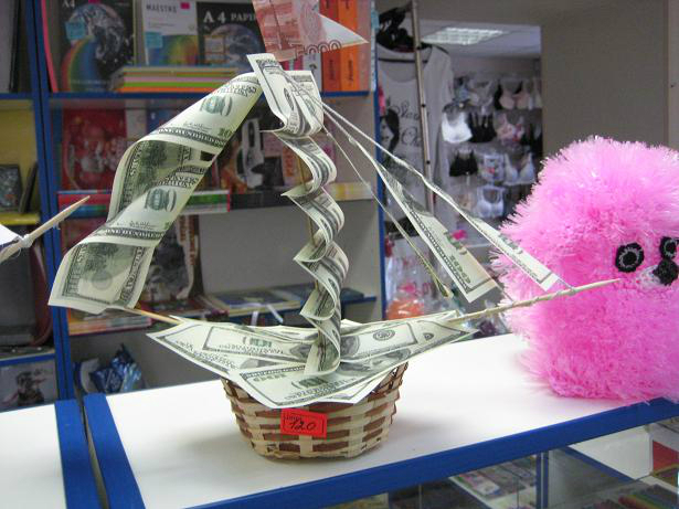 Поделка корабль из денег своими руками