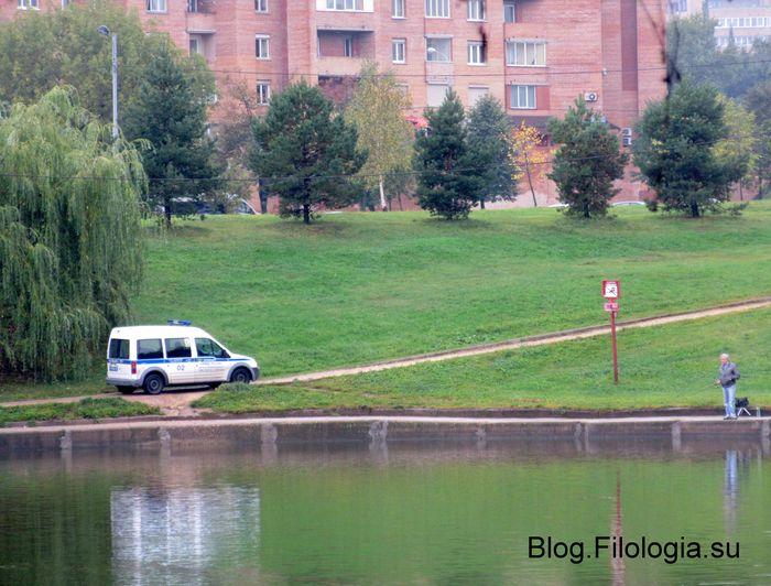 Водная гладь пруда в парке Дружба на Речном. На заднем фоне на другом берегу движется патрульная полицейская машина (700x532, 75Kb)