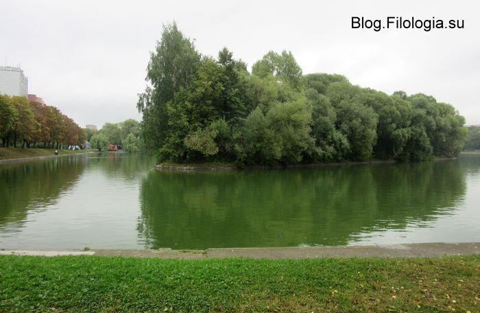Парк Дружба в сентябре. Зеленая роща красиво отражается в воде. (700x456, 52Kb)