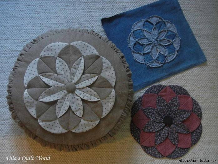 Лоскутное шитье. Подушка с цветком (3) (700x524, 300Kb)