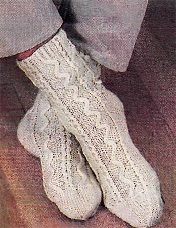 Ирландское вязание носков спицами 85