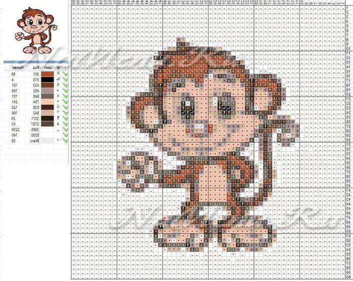 Схема вышивка крестом обезьяна