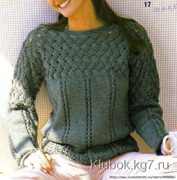 свитер с плетенным узором (595x604, 427Kb)