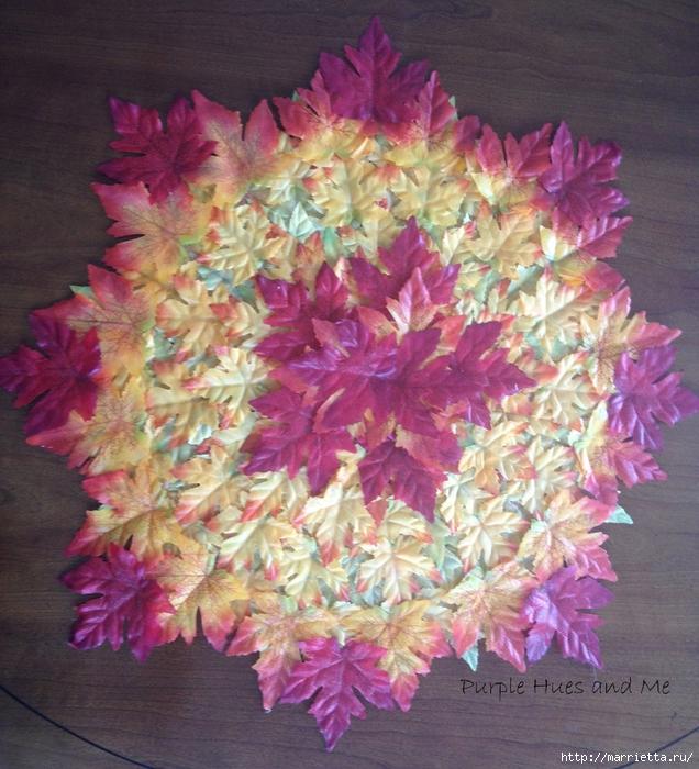 Декоративная салфетка из искусственных осенних листьев (9) (636x700, 384Kb)
