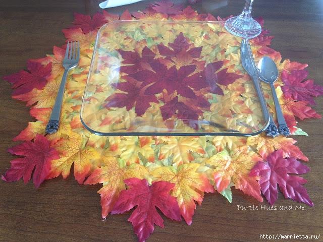 Декоративная салфетка из искусственных осенних листьев (11) (640x480, 273Kb)