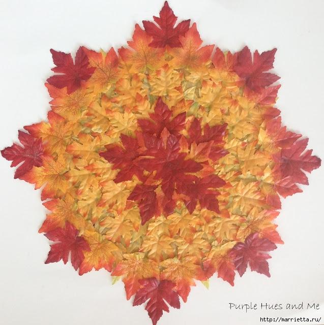 Декоративная салфетка из искусственных осенних листьев (13) (637x640, 268Kb)