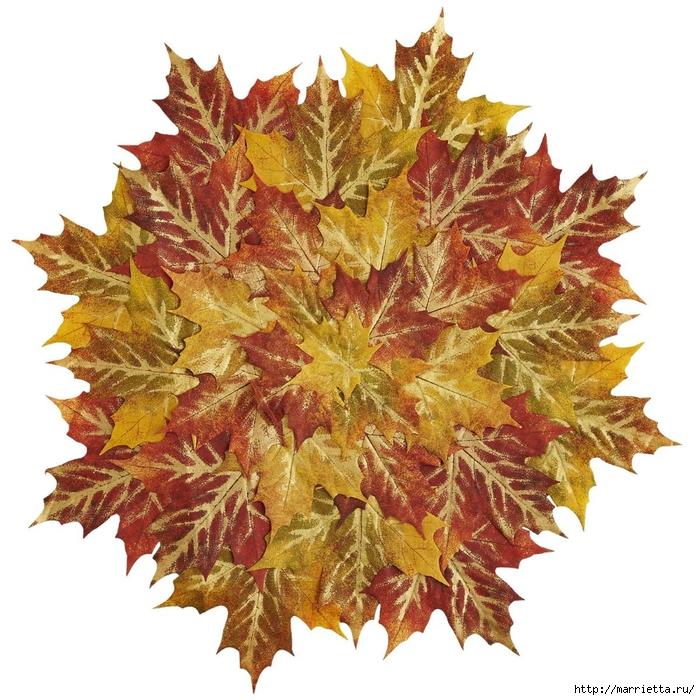 Декоративная салфетка из искусственных осенних листьев (15) (700x700, 376Kb)