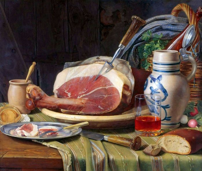 1Joseph Peter Wilms 1814-1892 Still life with ham (700x592, 81Kb)