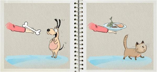 иллюстрации различия котов и собак (600x276, 135Kb)