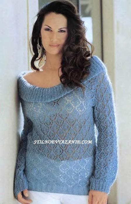 Вязание спицами свитера из