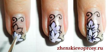 Как нарисовать цветок на ногтях для начинающих