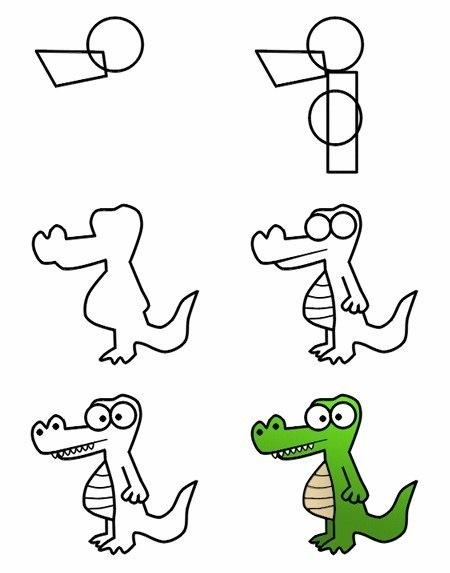 Продолжите рисование крокодила и добавьте хвост и часть левой лапы в эту схему.  Далее нарисуйте глаза, рот и...
