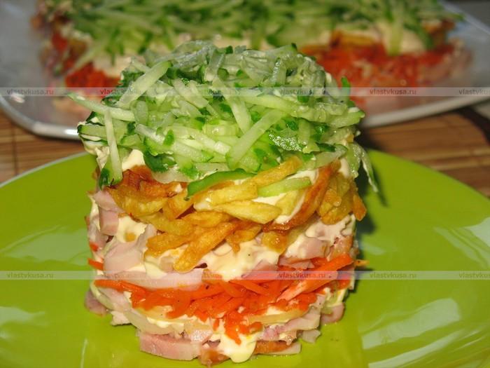 Рецепт салата с жареной картошкой и курицей