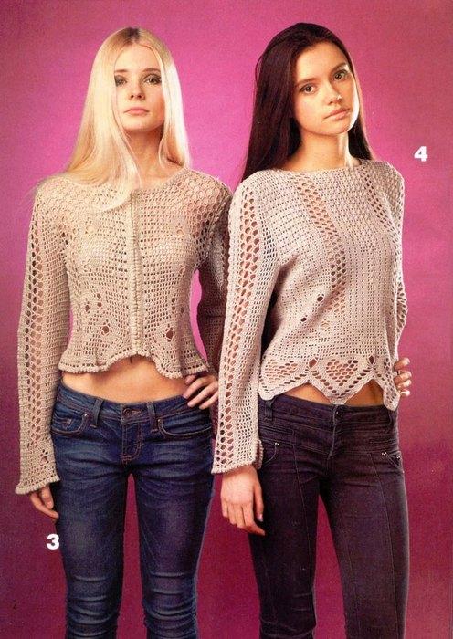 Две блузки. Филейное вязание.