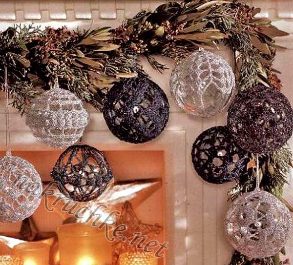 Вязаные новогодние шары будут