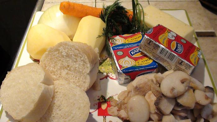 простой рецепт сырного супа с грибами