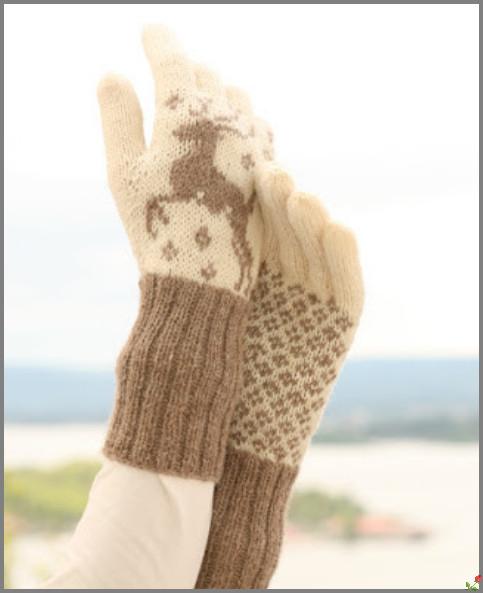 Перчатки с норвежским узором.