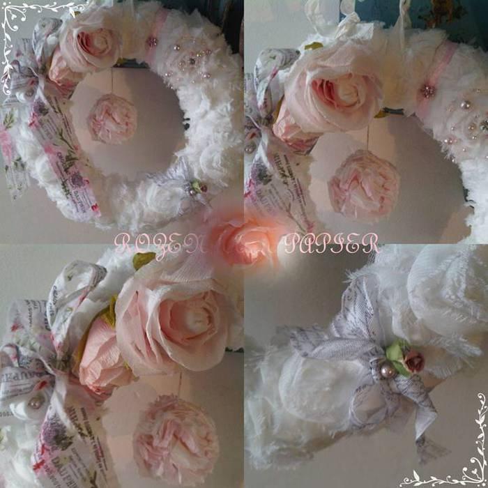 Kader witte krans met roos (700x700, 59Kb)
