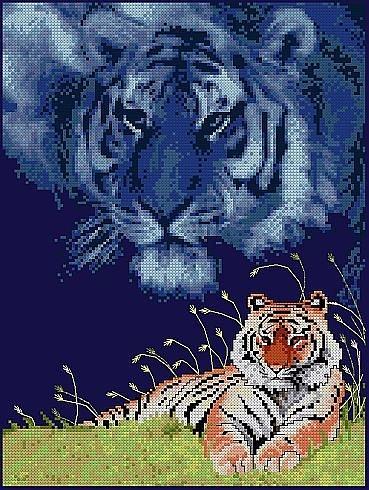 Тигр.  Вышивка крестом.