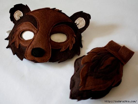 Как сделать маску медведя из фетра