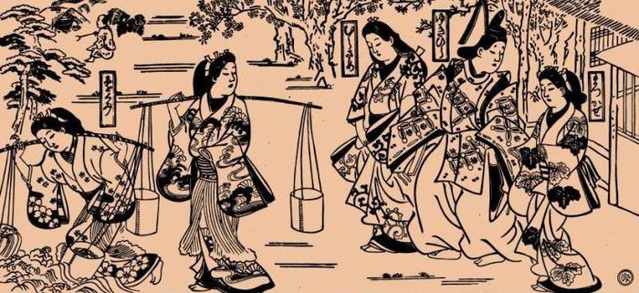 Моронобу. Мацукадзэ и Мурасамэ. 1684-1688 (700x321, 75Kb)