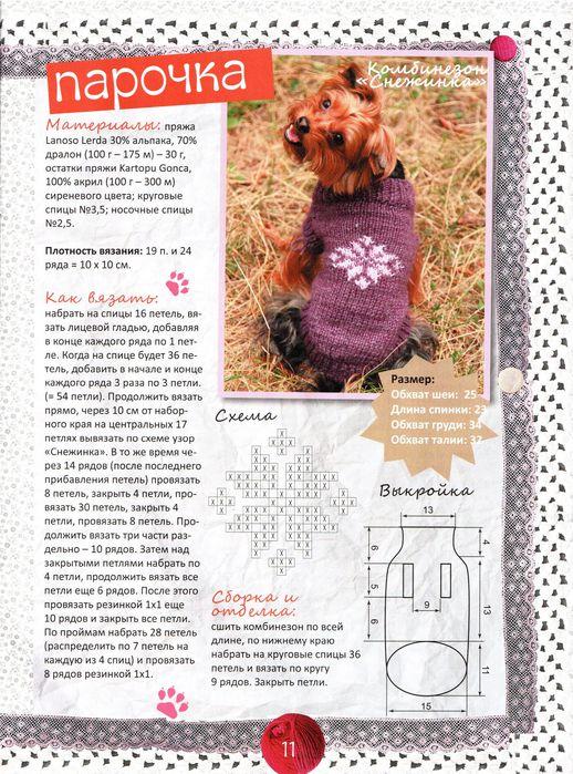 Как связать свитер для собаки йорка