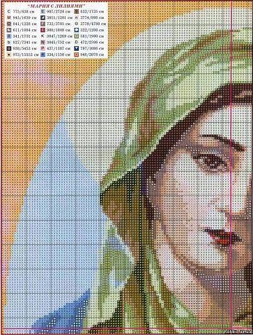 Схема вышивки крестом икона мария