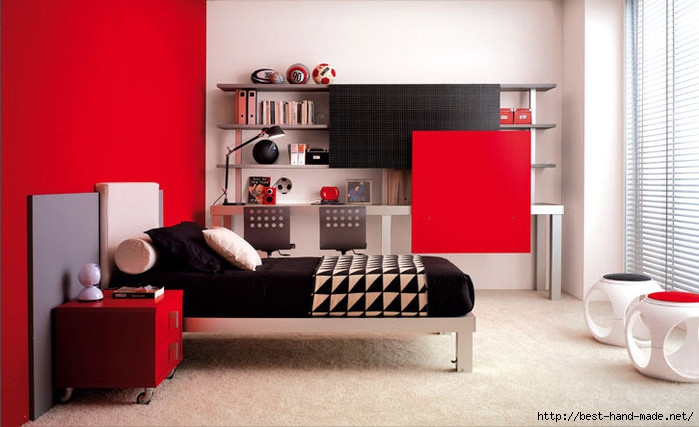 Black-Bed-Completed-With-White-Pillow-And-White-Curve-Black-Patterned-Blanket-Beside-Red-Buffet (700x427, 153Kb)