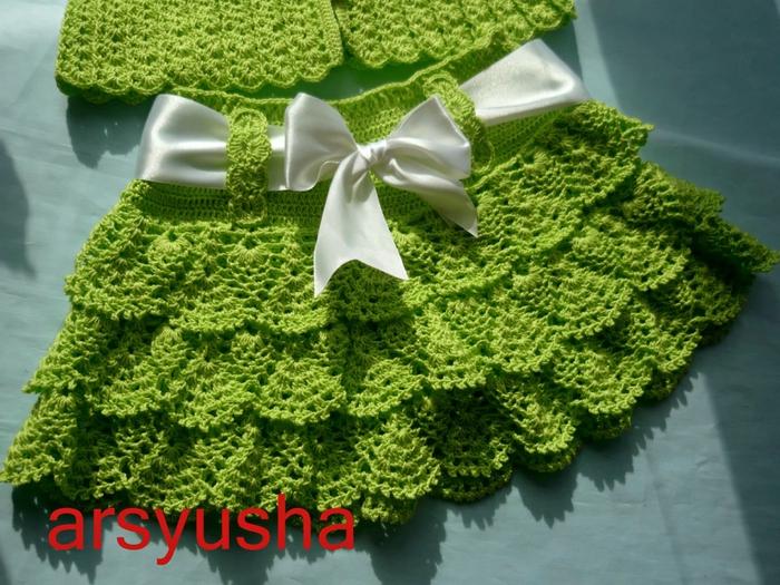Вязания юбочек для девочек крючком 56