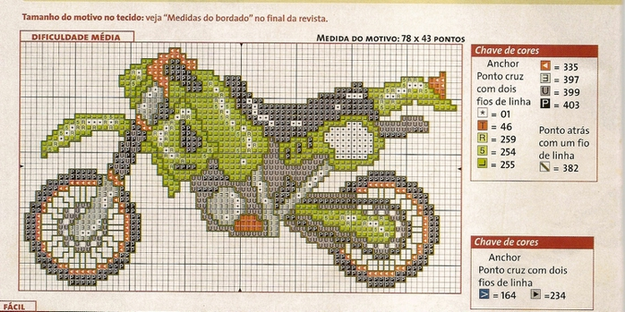 Схема вышивки крестом мотоцикл