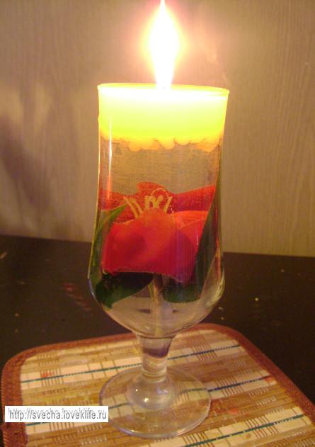 Сделать свечу в бокале своими руками