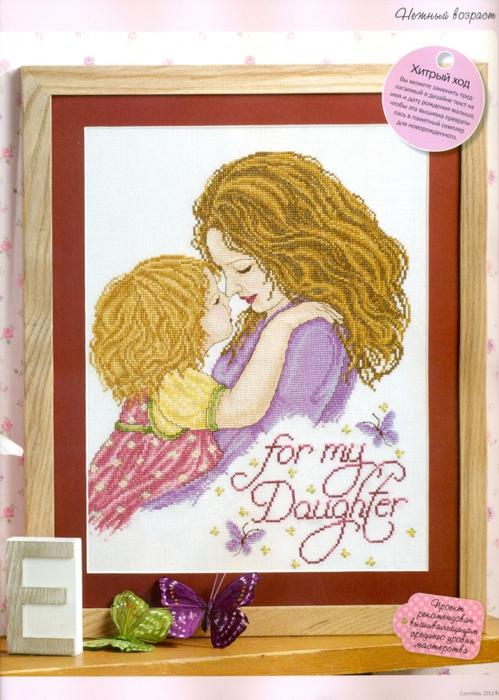 Вышивка мама с дочкой